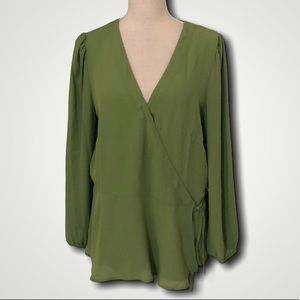 New Loft long sleeve wrap blouse top